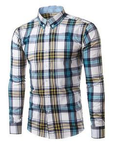 OULIU Mens Long Sleeve Plaid Slim Fit Button Down Casual Shirts 3 US-L