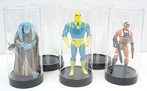 Protech Acrylic Cylinder Display Case for Star Wars, GI Joe and Other Qty of 5 by Cylinder Display Case