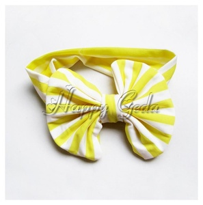 Kids Girl Baby Soft Striped Bowknot Headband Headwear Infant Hair Band Accessory Color:Yellow
