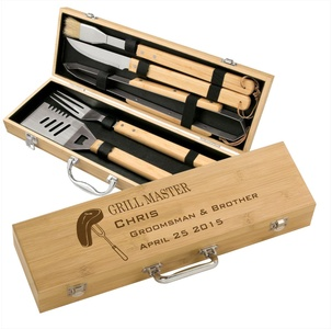 Personalized Grill Master Bamboo 5 piece BBQ Gift Set - Father's Day BBQ Set - engraved groomsman gift, custom grilling gifts