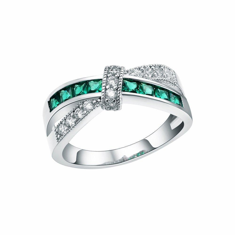 Sterling Silver Knot Green Crystal Finger Ring Wedding Bridal Engagement Jewelry US size 6.7.8.9