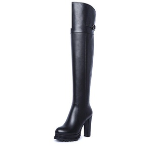 Autumn and winter was thin leather high-heeled knee boots waterproof leather/ Ms. thick with boots-A Foot length=24.3CM(9.6Inch)