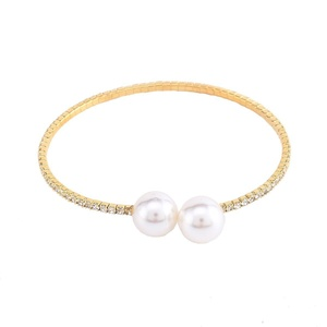Stuffwholesale Gold Silver Cuff Bangle White Pearl at Edge Crystal Rhinestone Women Girl Bracelet, 5 Pack (Gold)