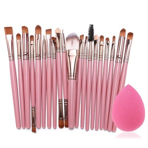Celltronic 20Pcs Makeup Brushes Kit Powder Foundation Eyeliner Eyeshadow Lip Brush Comestic Tool (Pink+Coffee)
