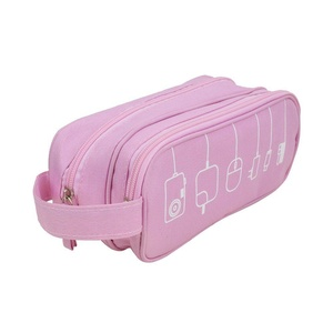 AENMIL Easy Carry Charger Hand Bag Makeup Pouch, Universal Waterproof Toiletry Case, Electronics Accessories Travel Organizer - Pink
