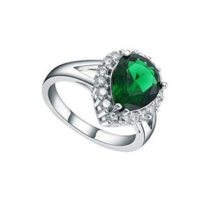 Sterling Silver Green Crystal CZ Zircon Waterdrop Band Finger Ring Party Engagement Jewelry US 7.8.9