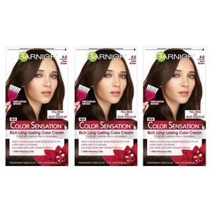 Garnier Hair Color Sensation Rich Long-Lasting Color Cream, 4.0 Dark Brown, 3 Count