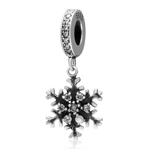 Leobeads 925 Sterling Silver Christmas Snowflake Dangle Charm Pendant with Rhinestone Fit European & Pandora Style Bracelet Neckalce