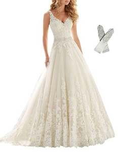 XuRui Women's Double V-Neck Lace Applique Empire Chapel Train Wedding Dress 2016(Ivory us8)