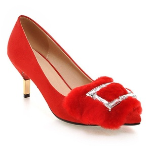 MINIVOG Women's Square Fur Buckle Pointed Toe High Pump Shoes Red 8