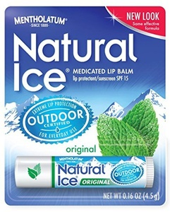 Mentholatum Natural Ice Medicated Lip Protectant SPF 15, Mentholatum 0.16-Ounce Tubes (Pack of 12) by Natural Ice