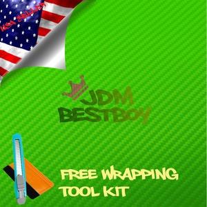 Free Tool Kit EZAUTOWRAP 3D Green Carbon Fiber Textured Car Vinyl Wrap Sticker Decal Film Sheet - 24