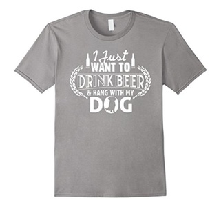 Men's I Just Want to Drink beer and hand with my Dog Funny T-Shirt Medium Slate