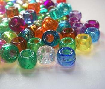 100 Mixed Transparent Glitter & Crystal Pony Beads for Loom Band Craft by KCG Trading