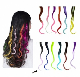 FESHFEN 12 Pcs Ombre Colors Set Curly Wave Clip on in Hair Extensions Hairpieces 18 Inches Long Remy Hair Colored Party Highlights Hair Accessories DIY Hair Decoration Cosplay with Gift Hairpin