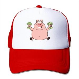 Cartoon Pig Carry Dollars Adult Adjustable Trucker Mesh Hat Baseball Cap Red