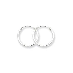 .925 Sterling Silver 14 MM Classic Endless Hoop Earrings