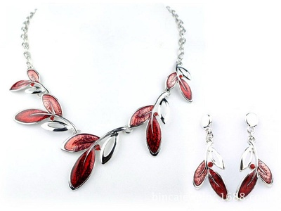 ARICO Hollow Out Necklaces Earrings Crystal Jewelry Set Leaf Enamel Jewelry Sets Leaves Silver Chain NE151