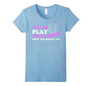 Women's Yes I Do Play Like A Girl Volleyball T Shirt Medium Baby Blue