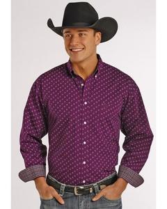 Panhandle Slim Men's Purple Poplin Print Western Shirt Maroon Large