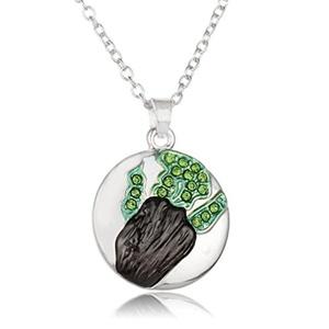 Rinhoo White Gold Plated Rhinestone Crystal Round Pendant Necklace(Green)