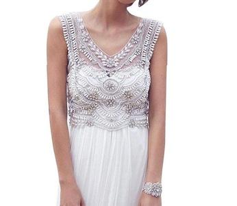YinWen Women's Doubel V-Neck Beaded Bodice A Line Chiffon Beach Wedding Dress Size 4 US White