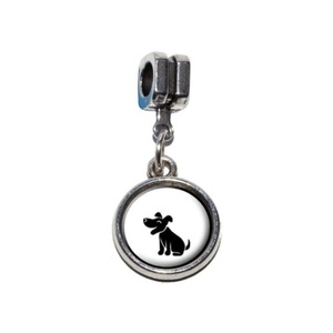 Graphics and More Dog Stick Figure Family - Pet Italian European Euro Style Bracelet Charm Bead - Fits Pandora, Biagi, Troll, Chamilla, Others