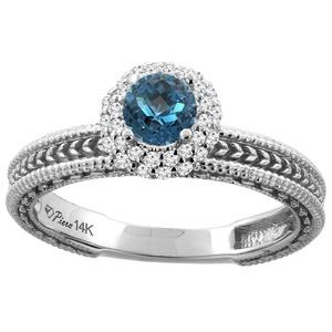 14K White Gold Natural London Blue Topaz & Diamond Engagement Ring Round 5 mm, size 6.5