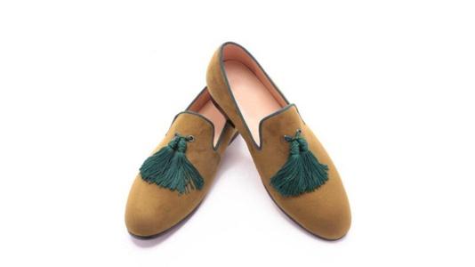 Men Olive Green Velvet Slippers Slip on Loafers Shoes With Tassel (9)