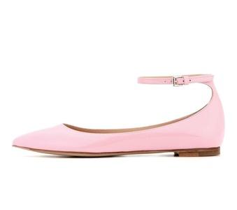 Eldof Women's Pointed Toe Ankle Strap Ballet Flats Low Heel Ballerinas Wedding Shoes Pink US7