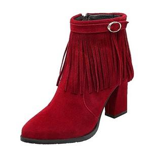 Show Shine Women's Zip High Chunky Heel Ankle High Tassels Boots (8, black)