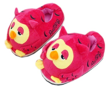 Cotton Girls Cute Style Owl Indoor Slippers Non-slip Slipper (Red)