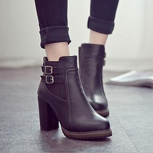 Women's Shoes Patent Leather Chunky Heel British Retro Bootie Boots Casual Black/Brown