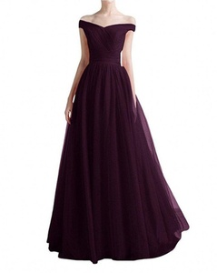 Winnie Bride Ruched Off-the-Shoulder Prom Ball Gown Tulle Long Evening Dress New-22W-Grape