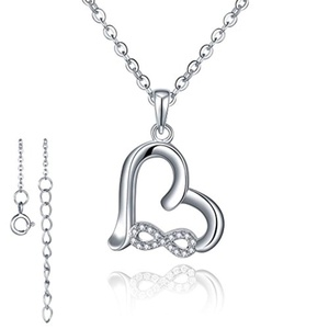 HEART BY HEART 925 Sterling Silver Cubic Zirconia Infinity Heart Pendant Necklace 18