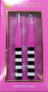 Macbeth Collection Tweezer Duo Slanted & Pointed Tip Black/White Stripe Pink