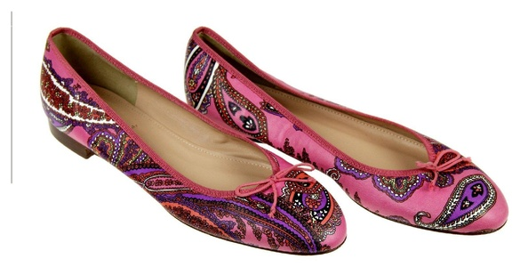 J Crew Kiki Leather Ballet Flats in Paisley Size 9.5 Multi-color New F5514