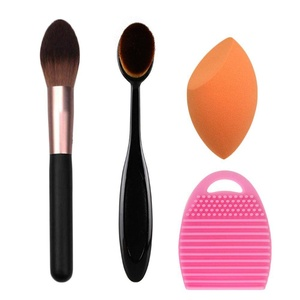 HOYOFO 4 Pcs Makeup Brush Set Foundation Blush Makeup Brushes Cosmetic Sponge Puff Washing Brush Cleaner Egg Scrubber,Orange
