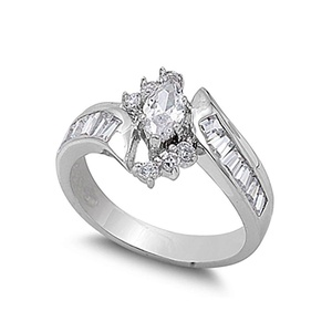 Wedding Engagement Ring Marquise Cut Cubic Zirconia Baguette Round CZ 925 Sterling Silver