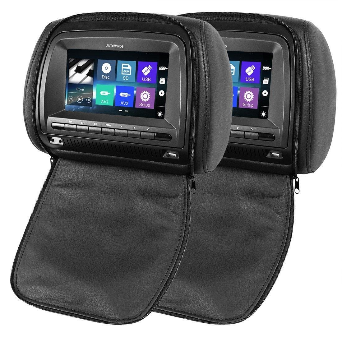 AUTOWINGS 2x 7 inch Car Headrest Monitor DVD Players Capacitive Touch Screen Leather Cover with Zipper Support Full Format DVD/VCD/MP4/WMV/RMVB/MOV/MKV/AVI Full HD 1080P Video USB SD FM IR (Black)
