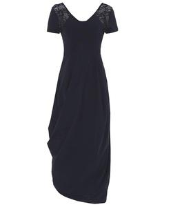 High Women's Lace Shoulder Drape Dress Black