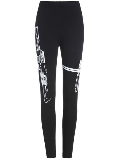 Black Slim Cotton Leggings with Gun Print