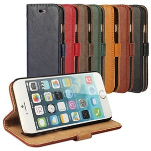 Bark Grain Genuine Leather Full Body Cover with Stand and Case for iPhone 6 Plus (Assorted Colors) ( Color : Green , Compatible Models : IPhone 6s Plus/6 Plus )