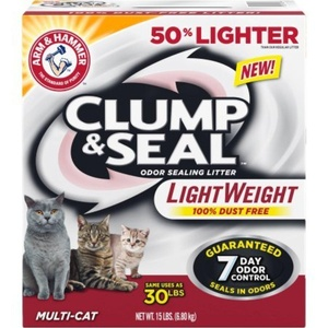 Clump & Seal Light Weight Multi-Cat Odor-Sealing Cat Litter by Arm & Hammer, 15 lbs. Box, 94188