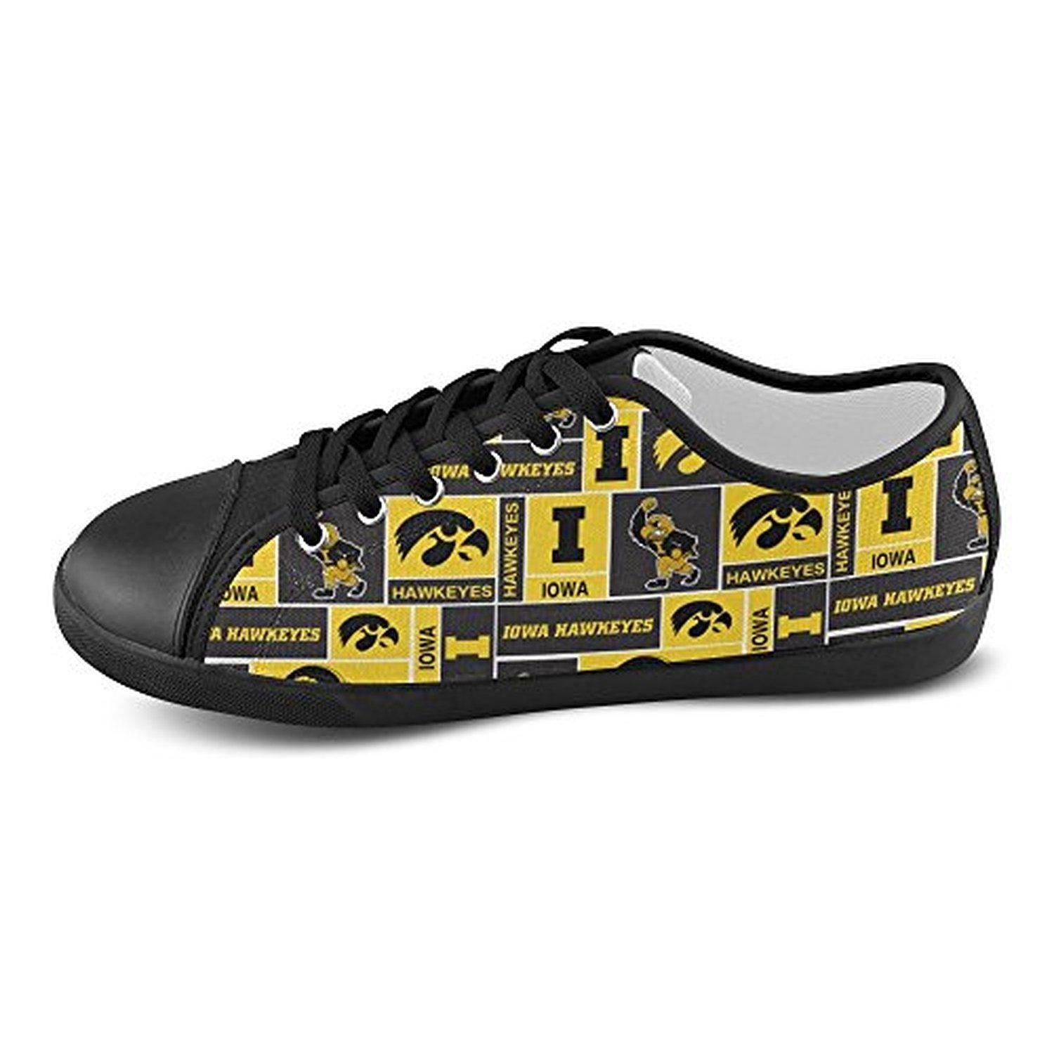H-ome Art Ncaa Iowa Hawkeyes Men's Low-top Lace-Up Canvas Shoes Casual Sneakers ,Black