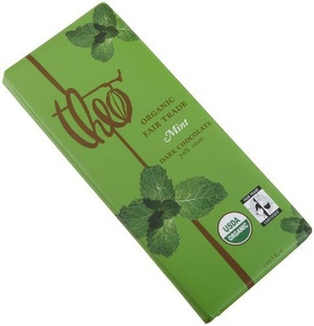 Theo Classic Organic Dark Chocolate (70% Cacao) with Mint, 3-Ounce Bars (Pack of 12) by Theo Chocolate