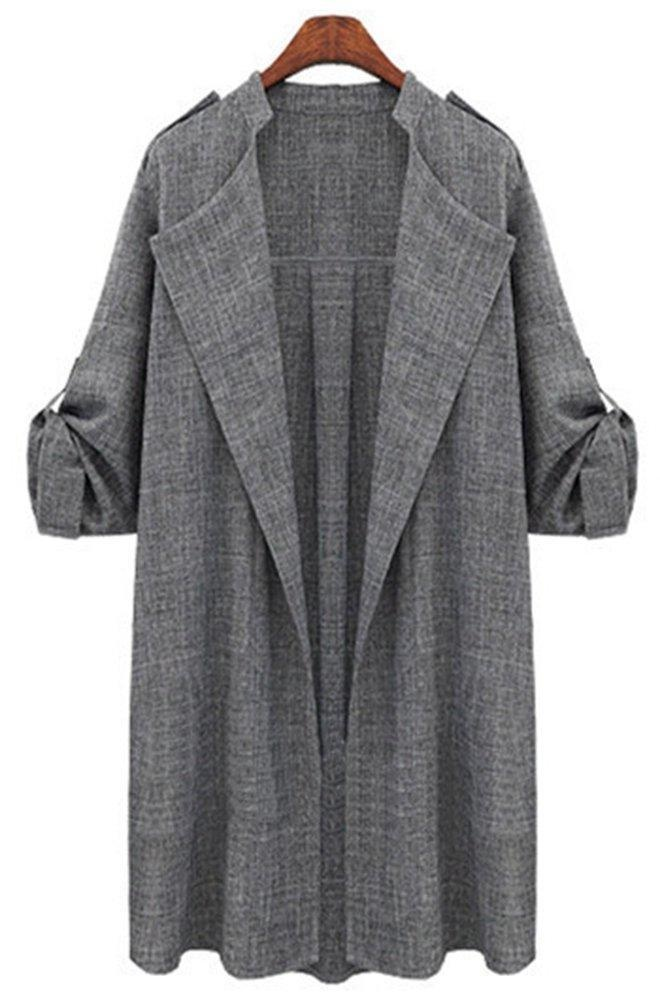 Kearia Womens Elegant Roll up Sleeve Drape Lapel Open Front Cardigan Trench Coat Outwear Gray XXLarge
