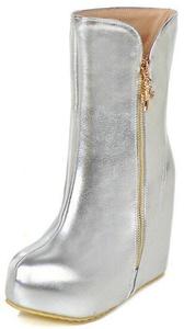 Summerwhisper Women's Trendy Round Toe Side Zipper Hidden Platform Wedge High Heel Mid Calf Boots Silver 10.5 B(M) US