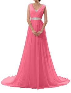 MILANO BRIDE Women's Evening Dress Maternity Gown V-neck Empire-Waist Beadings-26W-Peach