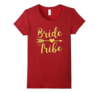Women's Bride Tribe Arrow Heart Gold Glitter T shirts Bachelorette XL Cranberry